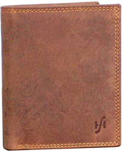 Starhide 1070 - Portafogli da uomo in pelle effetto invecchiato, tasca portamonete e multifunzione, in confezione regalo, colore: marrone