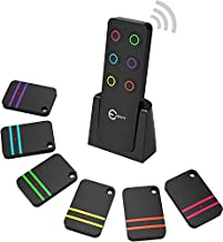 Key Finder, Esky 80dB RF Item Locator with 100ft Working Range, Wireless Wallet Tracker with 1 Transmitter and 6 Receivers for Finding Key, Remote, Pet and Wallet, Batteries Included-Black