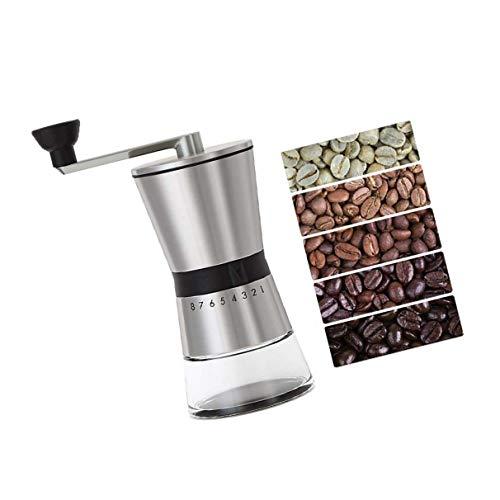 Burr Coffee Grinder, CASIZ Because Hand Ground Coffee Beans Taste Best, Infinitely Adjustable Grind, Glass Jar, Stainless Steel for Aeropress, Drip Coffee, Espresso, French Press, Turkish Brew