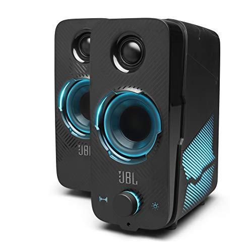 JBL Quantum Duo Speaker – Lautsprecher mit Gaming-Surround-Sound, Dolby Digital und Lichteffekten – Kompatibel mit PC und Konsole