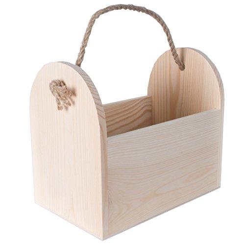 Searchbox in legno porta bottiglia di birra/Caddy/Tote/vettore/cassetta degli attrezzi con manico di corda naturale