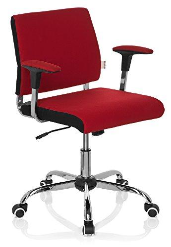 hjh OFFICE 719130 silla de oficina AVIDA tejido rojo, con apoyabrazos, ajuste de altura, cromado, in