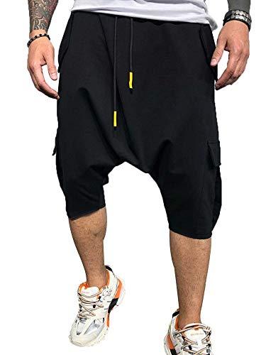 Eghunooye Haremshose Pumphose Kurze Herren Freizeithosen Hippie Hosen Einfarbig Baumwolle Aladinhose Pluderhose Multi-Tasche Sport Tanzen Hosen (Schwarz, M)