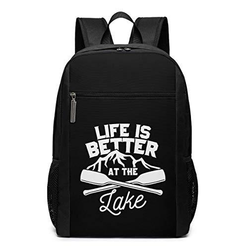 ZYWL Das Leben ist Besser am See Laptop Rucksack, Reiserucksäcke School College Bookbag für Frauen und Männer 17 Zoll