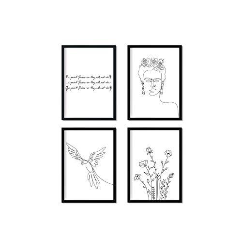 Pinearts Premium Poster Set - Frida Kahlo Poster Set - Lineart Poster | Wohnzimmer Deko Modern | Indie Room Decor | Deko Schlafzimmer Tumblr | 4 x DIN A4 Schwarz Weiß Bilder | OHNE RAHMEN