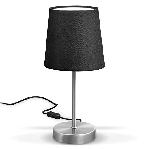 B.K.Licht Lámpara de mesa LED, lámpara de tela color negro, níquel mate, E14, lámpara de mesa, lámpara de cama con interruptor, IP20.