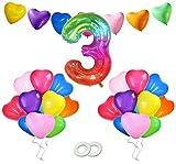 Decoracion Cumpleaños 3 Año,Globo Cumpleaños 3,Globo Número Gigante,Globos de Corazón para Fiesta de Cumpleaños,Aniversario