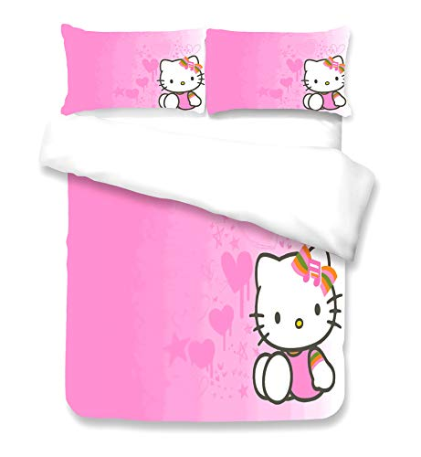 WFBZ - Juego de funda de edredón y funda de almohada, diseño de Hello Kitty, color rosa, 09, 240 x 220 cm
