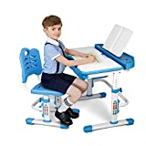 SIMBR 2021 Upgrade Kids Desk and Chair Set Height Adjustable Study Desk, Durable School Student Writing Tables W/Pull Out Drawer Storage, Pencil Case, Bookstand