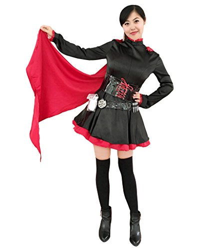 DAZCOS US Size Rose Cosplay Costume Black Red Lolita Dress (Women L)