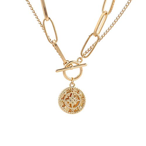 BoBoLily Pendant Necklace,Compass Map Pendant Choker Double Layer Women Thick Chain Necklace Jewelry,Mothers Day Gifts,Mothers Day Gifts From Daughter