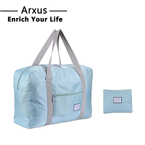 Arxus Travel Lightweight Waterproof Foldable Storage Carry Luggage Duffle Tote Bag (Mint Green)