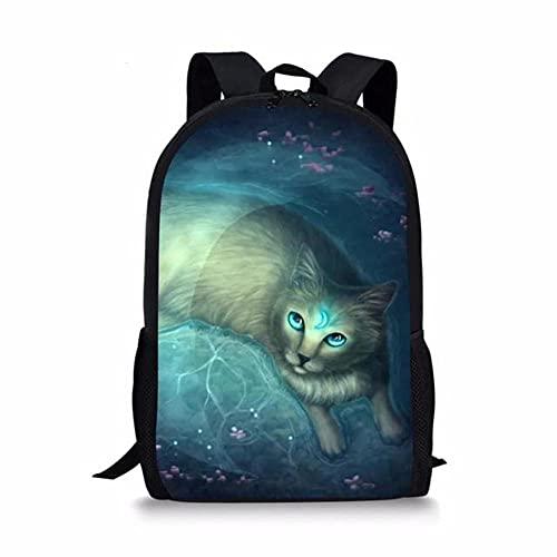 HUGHER Bolsos de Escuela de la Impresión del Gato de la Luna de Los Niños,Mochila del Viaje de la Escuela de la Moda de Las Muchachas del Adolescente