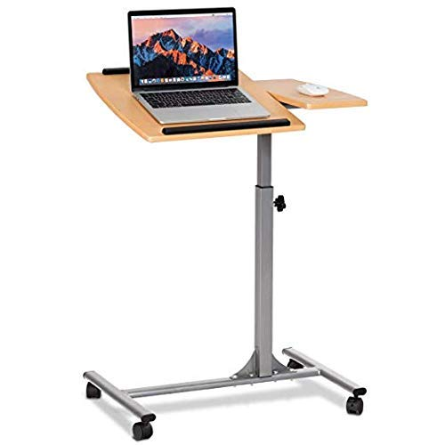 Tangkula Laptop Desk Overbed Table, Mobile Desk Cart, Angle & Height Adjustable Laptop Stand Cart, Computer Desk with Smooth & Lockable Casters, Mobile Lap Workstation Notebook Cart (Natural)