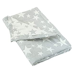 """crib bedding and baby bedding ntbay 3 layer toddler blanket, muslin cotton jacquard bed blankets, lightweight thermal baby blanket, super soft and warm crib blanket for all seasons, decoration gift, 30""""x 40"""", grey star"""