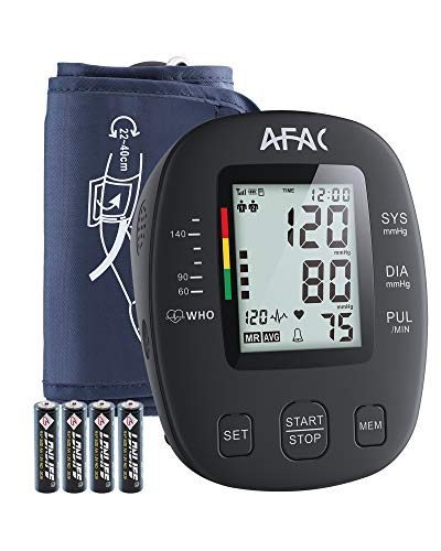 Blood Pressure Monitor Upper Arm, AFAC Automatic Digital Bp Machine for Home Use with Batteries, Large Display, Adjustable Cuff for 2 Users 240 Memory and Speaker Function