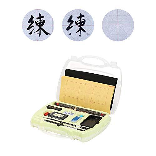 Chinese kalligrafieset kalligrafie penseel Sumi inkt herbeschrijfbaar water schrijfdoek Inkstone set viltmat met opbergdoos