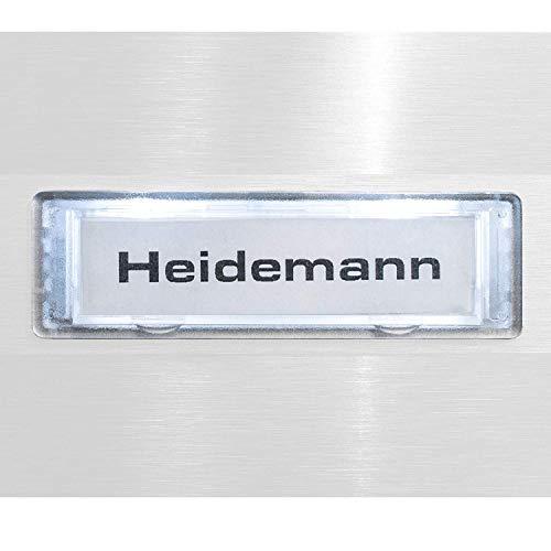 Metzler Ersatz-Namensschild - mit oder ohne Beleuchtung - energieeffizient und wetterfest - LED-Beleuchtungsfarbe: Kaltweiß - glasklarer Rand - Größe: 75 x 22 mm