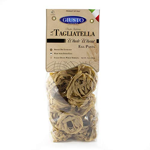 Giusto Sapore Whole Wheat Tagliatelle Italian Egg Pasta Noodles - 340g - Premium Bronze Drawn Durum Wheat Semolina Gourmet Pasta Brand - Imported From Italy And Family Owned (Whole Wheat, 1 Pack)
