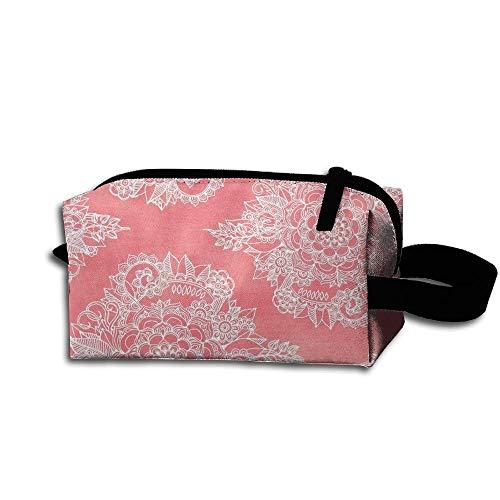 Travel Makeup White Floral Moroccan Beautiful Waterproof Cosmetic Bag Quick Makeup Bag Pencil Case