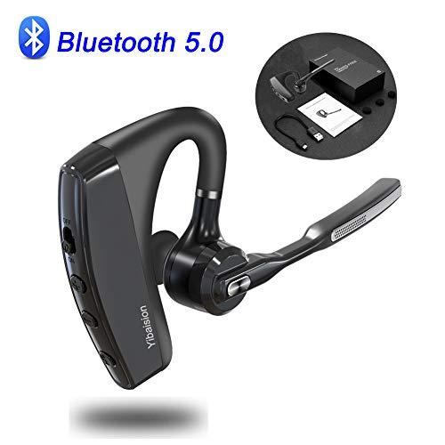 Yibaision Bluetooth Headset V5.0 Kompatibel für IOS and Android, CVC8.0 Drahtloses Kopfhörer Dual Mic Aktive Geräuschunterdrückung für Handys und Andere Geräte mit Bluetooth