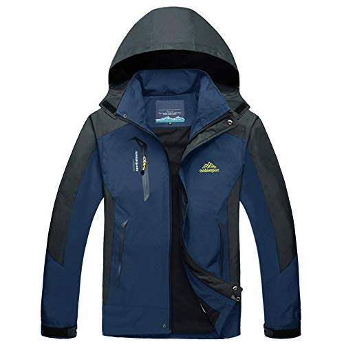 Mens Hiking Jacket Lightweight Waterproof Jackets for Men Hooded Windbreaker Jacket Windproof Coat Camping Jacket Men Denim Blue