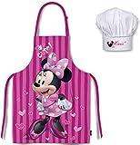Juego de Delantal y Gorro Set Chef de Cocina Infantil, de Minnie. Diseño de Disney. De 3 a 8 años