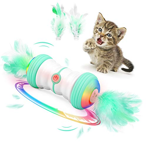 MILIFUN Magic Feather Cat Toy Interactive Cat Toy Auto Rotate Ball Automatic Rotating Ball Teaser Cat Toys for Indoor Kitten/CatsUSB Charging Cat Ball Toy Multiple Color LED Light2 Speed Modes