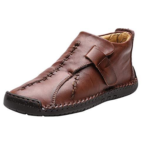Alwayswin Herren Freizeitschuhe Vintage Lederstiefel Mode Klettverschluss Stiefeletten Bequeme rutschfeste Kurze Stiefel Herbst und Winter Booties (Plus und Nicht Plus Samt)