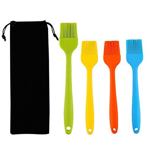 ZSooner Backpinsel aus weichem Silikon, 4 Stück, zum Verglasen, für Sauce, Honig, Marinade, Fleisch, Küche, Gebäck, Backen, spülmaschinenfest, Öl, Kochen, tragbar, hitzebeständig, leicht zu reinigen
