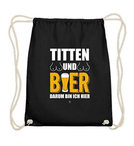 EBENBLATT Lustig Titten und Bier Saufer Saufen Party T-Shirt Bierkrug Bierfass Bier brauen Geschenk - Baumwoll Gymsac