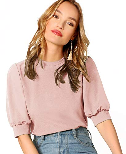 SheIn Women's Puff Sleeve Casual Solid Top Pullover Keyhole Back Blouse Pink Medium