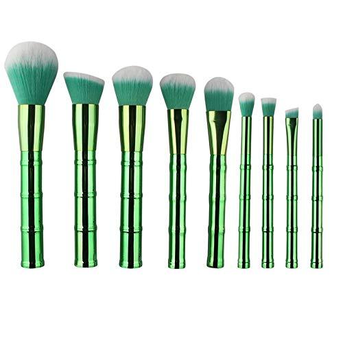 MEIMEIDA Pinceaux de maquillage Set Poignée en bambou Poudre de cheveux synthétique Sourcils Maquillage Pinceaux Outils Kit de brosse de fondation cosmétique, Vert