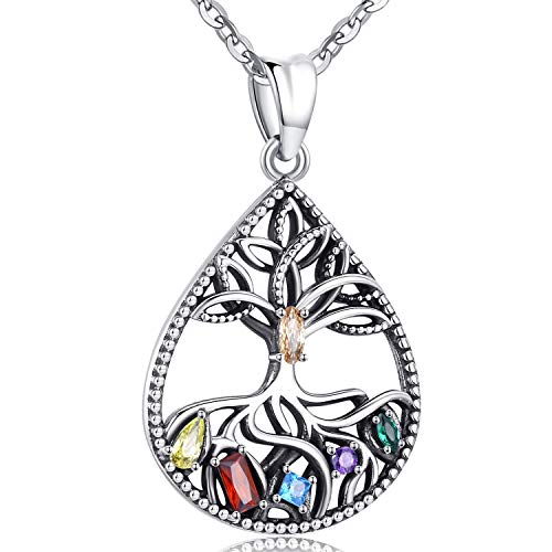 Aniu celtic tree of life Pendant necklace for Women, 925 Sterling Silver Cubic Zirconia Teardrop Jewelry Gifts for girls Mom Lovers Wife 18''