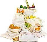 Sacs Réutilisables à Fruits et Légumes - Sacs en Coton Bio - Sacs Réutilisables Coton - Sac en Cotton pour Legumes - Sac de Légumes Réutilisable - Ensemble de 6 (2 Grands, 2 Moyens, 2 Petits)