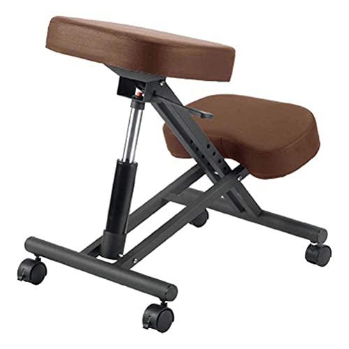 N&O Renovation House Ergonomischer Kniestuhl Verstellbarer Bürohocker Kniestütze Stuhl Verbessern Sie Ihre Körperhaltung Abgewinkelter Kniestuhl Dicke Bequeme Kissen Rot(Farbe: Schwarz)