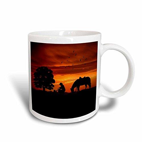 3dRose / Stand voor paarden, On A Hill bij zonsondergang, Western, koffiebeker, 425 ml, keramiek, 8,45 12,7 cm x 15,2 cm, wit