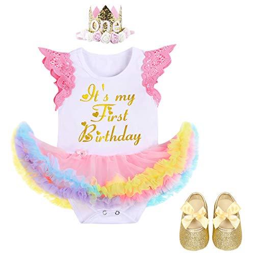 FYMNSI Es ist Mein Erster Geburtstag Baby Mädchen 1 Jahr Outfit Regenbogen Tüll Tütü Prinzessin Body Kleid Strampler + Krone Stirnband + Schuhe 3tlg Set für Geburtstagsparty Fotoshooting Gold 6-12M
