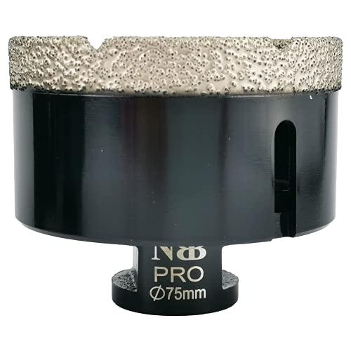 NBB Broca de diamante soldada al vacío con M14, para taladrar en seco y en húmedo profesionalmente en porcelana dura, cerámica, baldosas, granito, mármol, rápida, para Amoladora Angular (Dia.75mm)