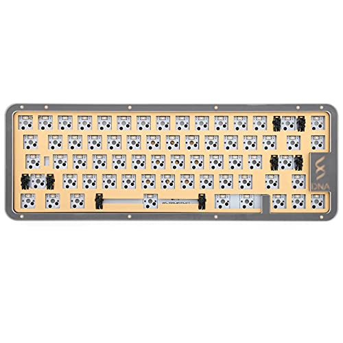 DNA65 65% Kit Custom Mechanical Keyboard Kit PCB CASE hot swappable Switch Support Lighting Effects with RGB Switch led (DNA65 Barebone Kit x1)