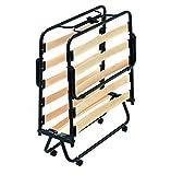Evergreenweb – Cama plegable de 80 x 190 cm – Somier individual de láminas de madera natural de haya + amortiguadores, soporte más flexible – Ortopédico, 4 ruedas antiarañazos desmontables
