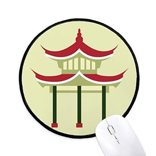 Pavillon China Muster Runde rutschfeste Mousepads schwarz genähte Kanten Game Office Geschenk