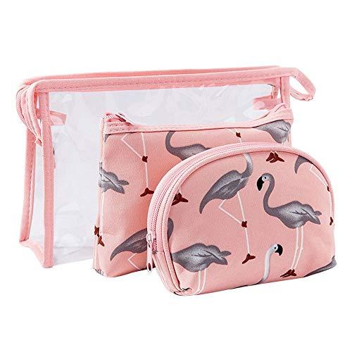 LYX 3 STÜCKE Farbe Damen Kosmetische Aufbewahrungstasche Sets Wasserdicht Und Transparent PVC Waschen Großraum Pu Ledertasche Dreiteilige Anzug Geeignet for Reise Lagerung (Color : Pink)