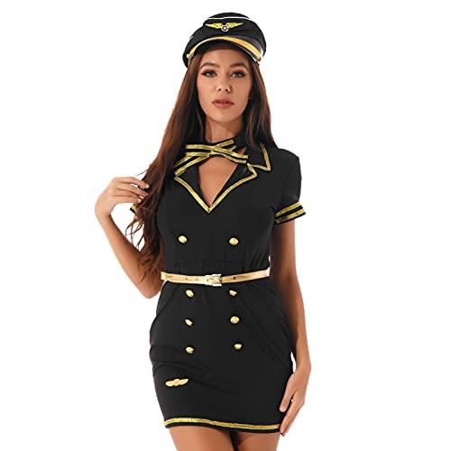 iEFiEL Costume da Donna Poliziotta 4 Pezzi Camicia + Cappello + Gonna + Cravatta Uniforme per Cosplay Halloween Carnevale Mini Bodycon Lingerie Trasparente Outfit Black L