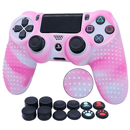 Wassertransferdruck Silikon Skin für PS4 RALAN ,PS4 Silikon Skin Controller für PS4 Slim/PS4 Pro Controller (Schwarz Pro Daumengriff x 8, Katze + Totenkopf Kappe, Griff x 2) (weiß & rosa)
