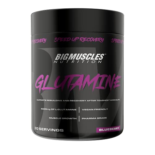 Bigmuscles Nutrition Glutamine [ 30 Servings, Blueberry] | 5000 mg | Muscle Growth & Recovery Intense Exercise | Helps Repair Muscles | Clinically Proven for Men & Women | Safe for Regular Consumption