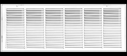 36' X 12 Steel Return Air Filter Grille for 1' Filter - Removable Face/Door - HVAC Duct Cover - Flat Stamped Face - White [Outer Dimensions: 38.5 X 13.75]