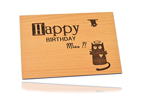 Beschreibbare Holzgrußkarte Set 3D Tiefenrelief Geburtstag Holzkarte Happy Birthday Katze - 100% Made in DE - Postkarte · Karte · Geschenkkarte · Für Geburtstag Glückwünsche als Geschenk