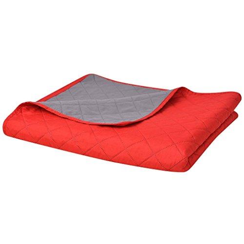 Festnight Zweiseitige Steppdecke Tagesdecke Gesteppte ?berwurfdecke 230x260cm Warm Decke Maschinenwaschbar Rot/Grau