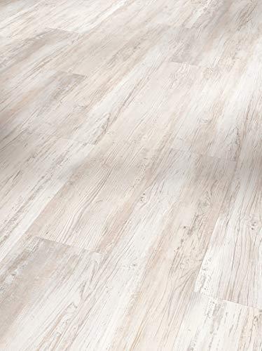 Parador Klick Vinyl Bodenbelag Basic 30 Pinie skandinavisch weiß Landhausdiele Gebürstete Struktur 1,825m², hochwertige Holzoptik hell weiß 9,4mm, einfache Verlegung